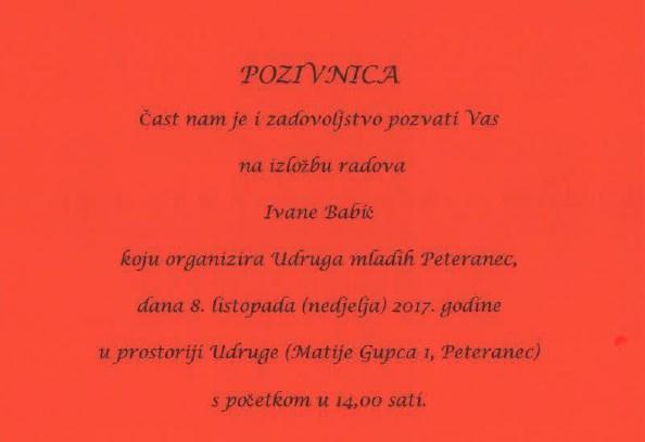 POZIVNICA Izložba radova Ivane Babić